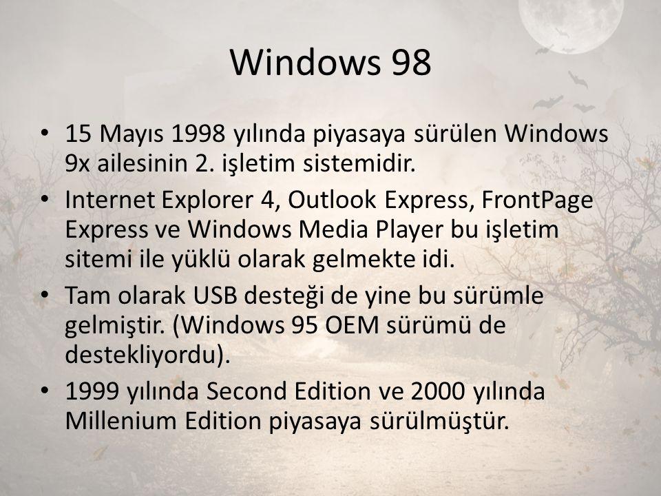 Windows 98 15 Mayıs 1998 yılında piyasaya sürülen Windows 9x ailesinin 2. işletim sistemidir. Internet Explorer 4, Outlook Express, FrontPage Express