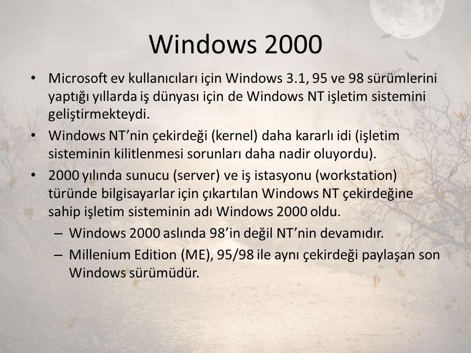 Windows 2000 Microsoft ev kullanıcıları için Windows 3.1, 95 ve 98 sürümlerini yaptığı yıllarda iş dünyası için de Windows NT işletim sistemini gelişt