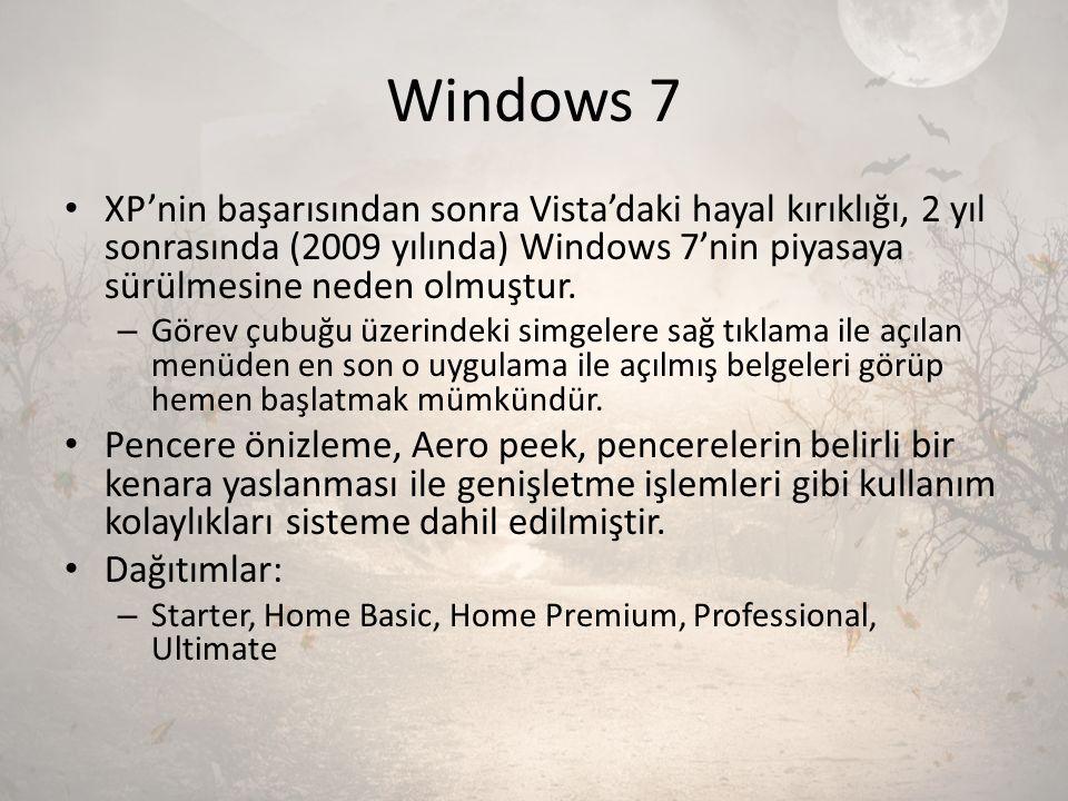 Windows 7 XP'nin başarısından sonra Vista'daki hayal kırıklığı, 2 yıl sonrasında (2009 yılında) Windows 7'nin piyasaya sürülmesine neden olmuştur. – G