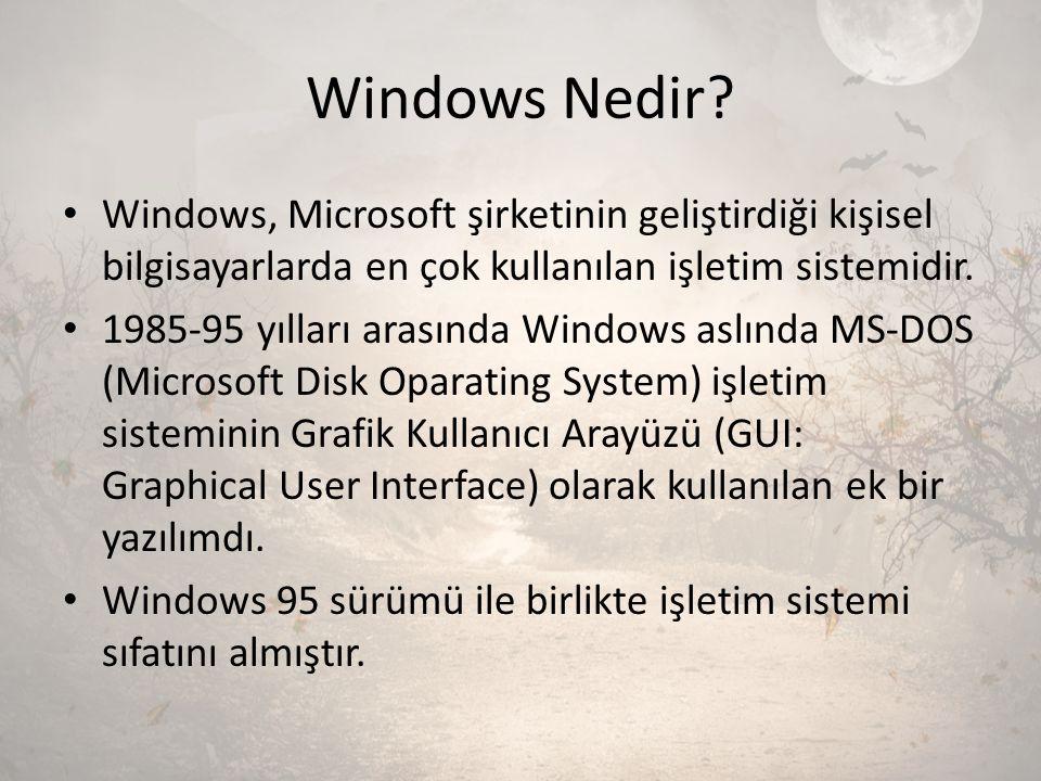 Windows Nedir? Windows, Microsoft şirketinin geliştirdiği kişisel bilgisayarlarda en çok kullanılan işletim sistemidir. 1985-95 yılları arasında Windo