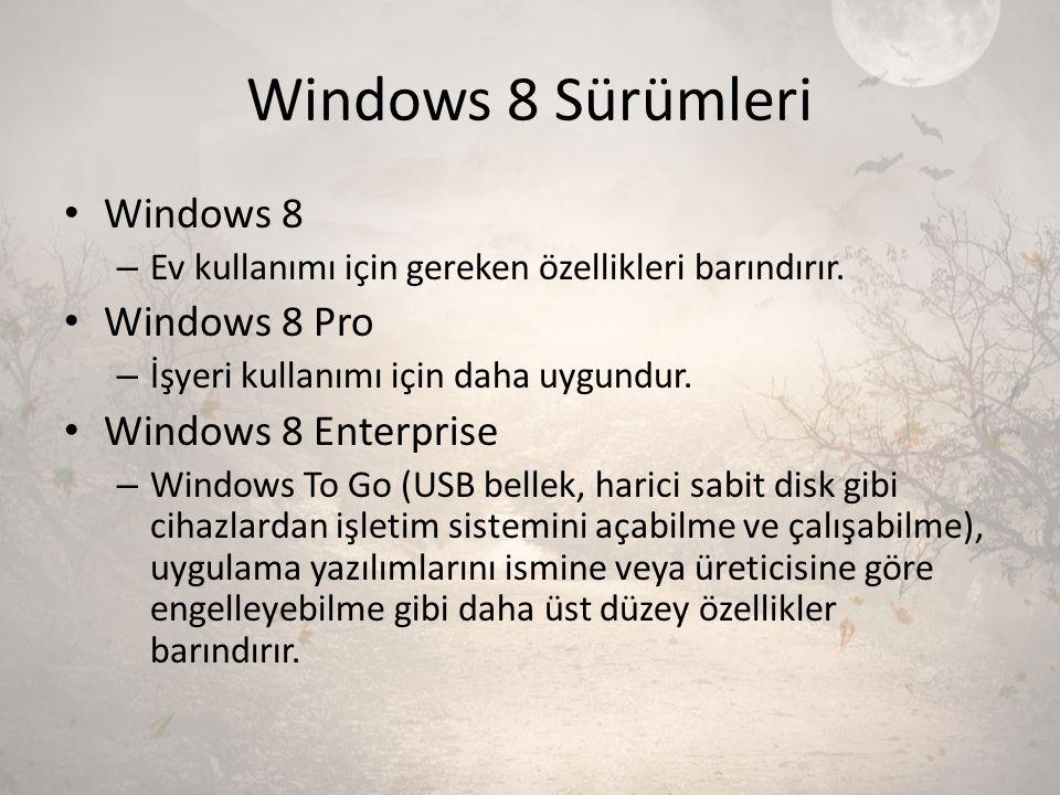 Windows 8 Sürümleri Windows 8 – Ev kullanımı için gereken özellikleri barındırır. Windows 8 Pro – İşyeri kullanımı için daha uygundur. Windows 8 Enter