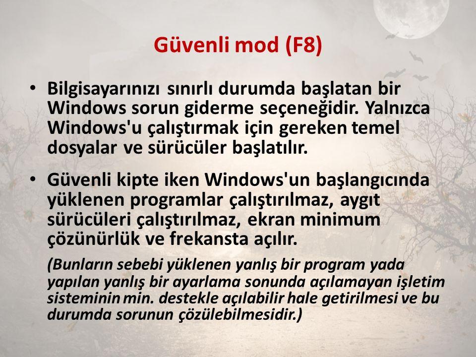 Güvenli mod (F8) Bilgisayarınızı sınırlı durumda başlatan bir Windows sorun giderme seçeneğidir. Yalnızca Windows'u çalıştırmak için gereken temel dos
