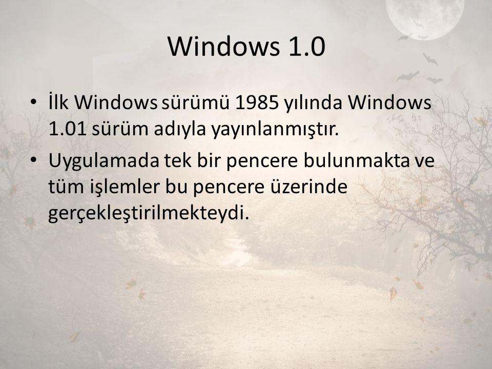 Windows 1.0 İlk Windows sürümü 1985 yılında Windows 1.01 sürüm adıyla yayınlanmıştır. Uygulamada tek bir pencere bulunmakta ve tüm işlemler bu pencere