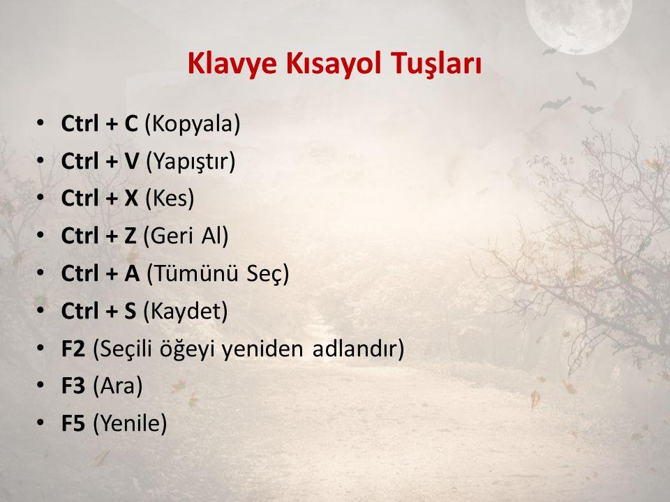 Klavye Kısayol Tuşları Ctrl + C (Kopyala) Ctrl + V (Yapıştır) Ctrl + X (Kes) Ctrl + Z (Geri Al) Ctrl + A (Tümünü Seç) Ctrl + S (Kaydet) F2 (Seçili öğe