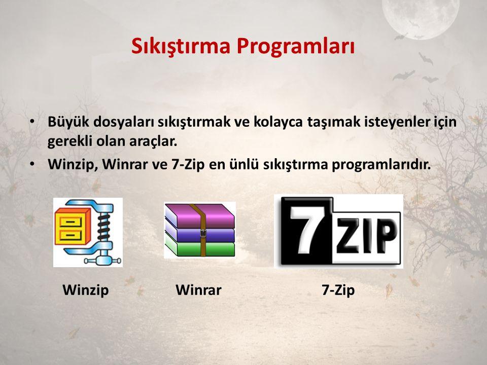 Sıkıştırma Programları Büyük dosyaları sıkıştırmak ve kolayca taşımak isteyenler için gerekli olan araçlar. Winzip, Winrar ve 7-Zip en ünlü sıkıştırma