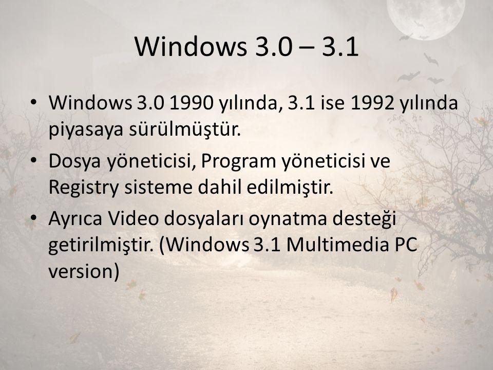 Windows 3.0 – 3.1 Windows 3.0 1990 yılında, 3.1 ise 1992 yılında piyasaya sürülmüştür. Dosya yöneticisi, Program yöneticisi ve Registry sisteme dahil