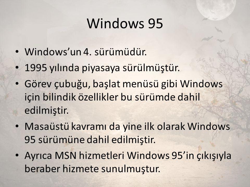 Windows 95 Windows'un 4. sürümüdür. 1995 yılında piyasaya sürülmüştür. Görev çubuğu, başlat menüsü gibi Windows için bilindik özellikler bu sürümde da