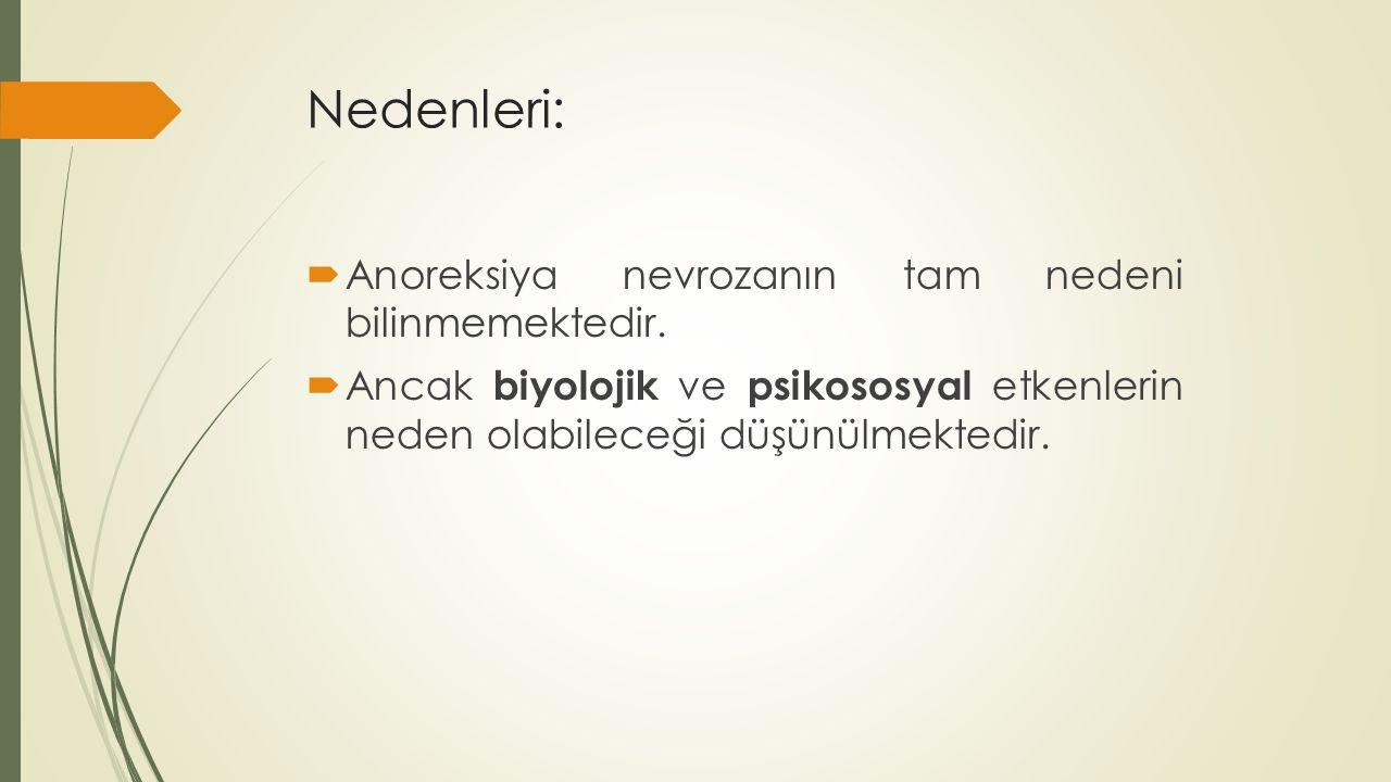 Nedenleri:  Anoreksiya nevrozanın tam nedeni bilinmemektedir.  Ancak biyolojik ve psikososyal etkenlerin neden olabileceği düşünülmektedir.