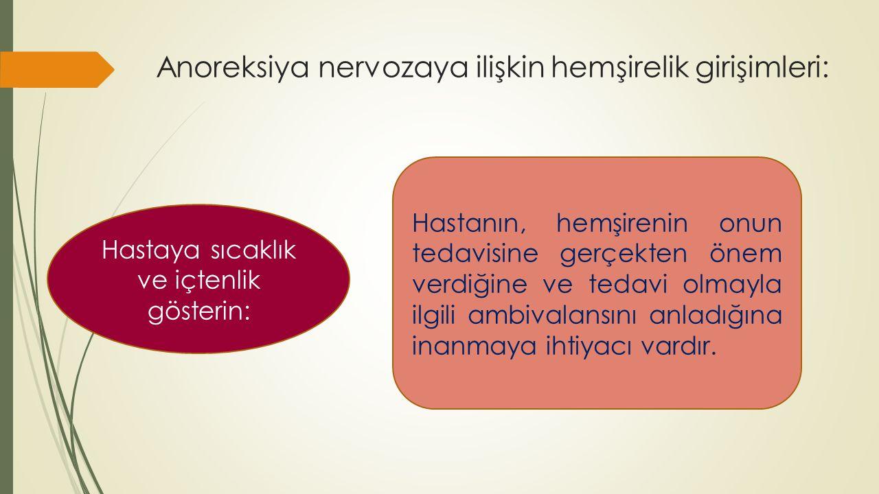 Anoreksiya nervozaya ilişkin hemşirelik girişimleri: Hastaya sıcaklık ve içtenlik gösterin: Hastanın, hemşirenin onun tedavisine gerçekten önem verdiğ