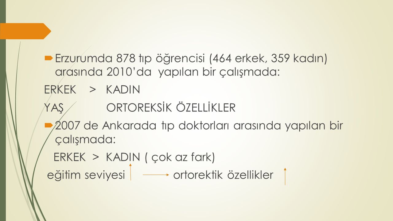  Erzurumda 878 tıp öğrencisi (464 erkek, 359 kadın) arasında 2010'da yapılan bir çalışmada: ERKEK > KADIN YAŞ ORTOREKSİK ÖZELLİKLER  2007 de Ankarad