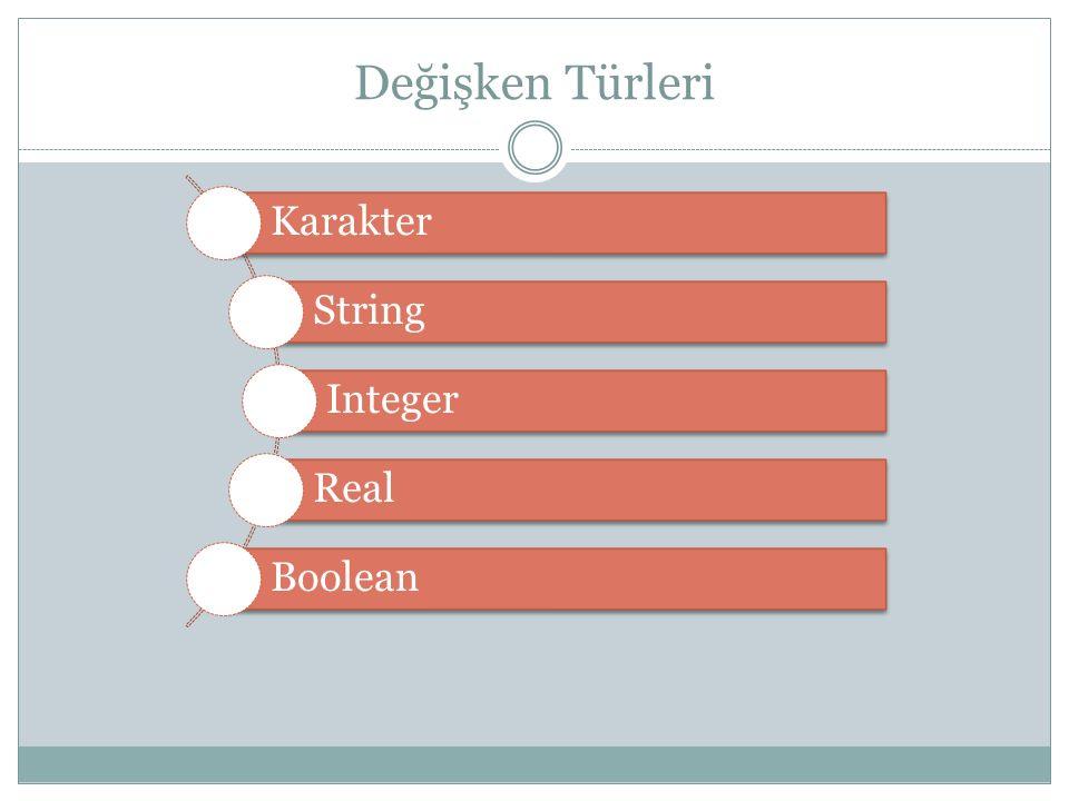 Değişken Türleri Karakter String Integer Real Boolean