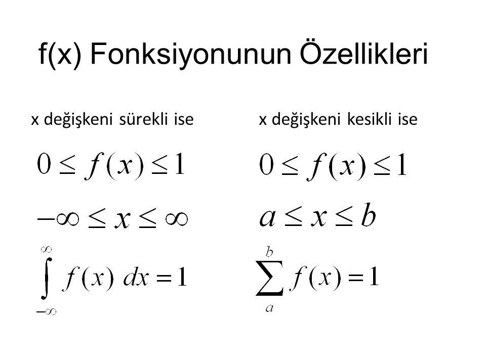 f(x) Fonksiyonunun Özellikleri x değişkeni sürekli isex değişkeni kesikli ise