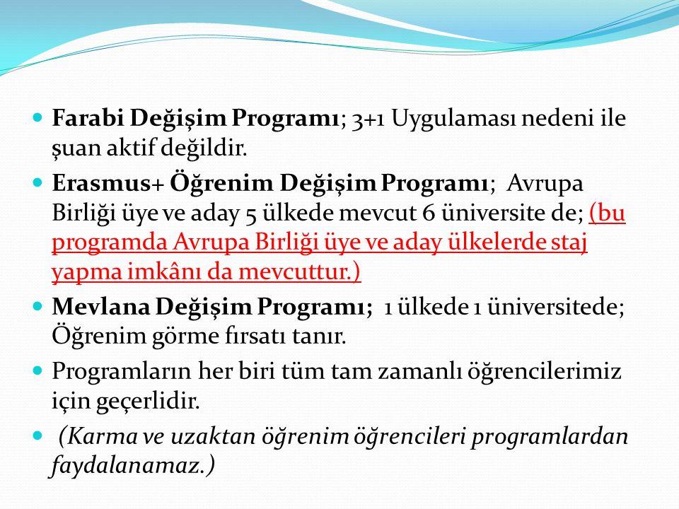 Farabi Değişim Programı; 3+1 Uygulaması nedeni ile şuan aktif değildir. Erasmus+ Öğrenim Değişim Programı; Avrupa Birliği üye ve aday 5 ülkede mevcut