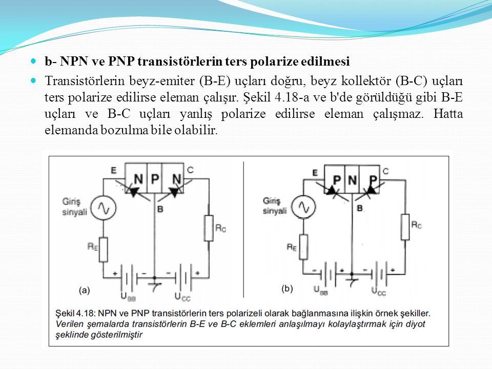 b- NPN ve PNP transistörlerin ters polarize edilmesi Transistörlerin beyz-emiter (B-E) uçları doğru, beyz kollektör (B-C) uçları ters polarize edilirse eleman çalışır.