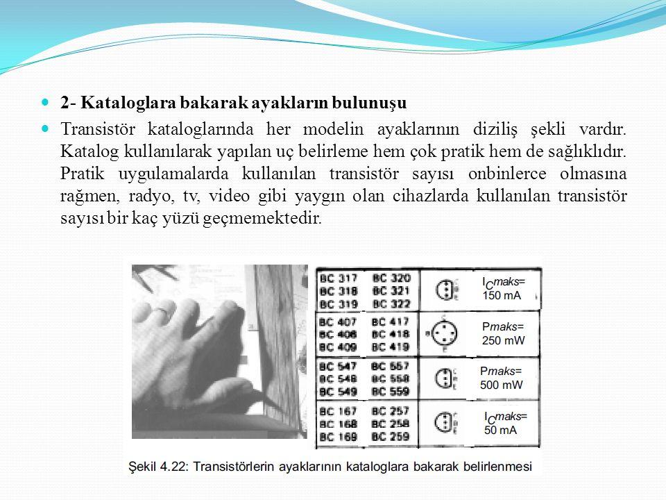 2- Kataloglara bakarak ayakların bulunuşu Transistör kataloglarında her modelin ayaklarının diziliş şekli vardır. Katalog kullanılarak yapılan uç beli
