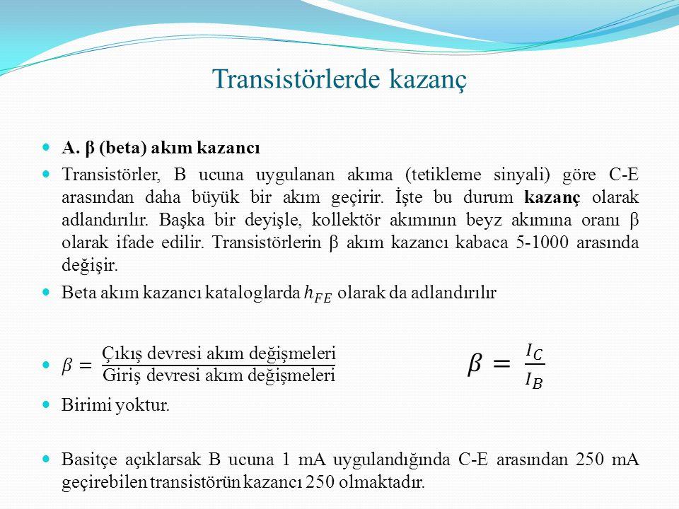 Transistörlerde kazanç