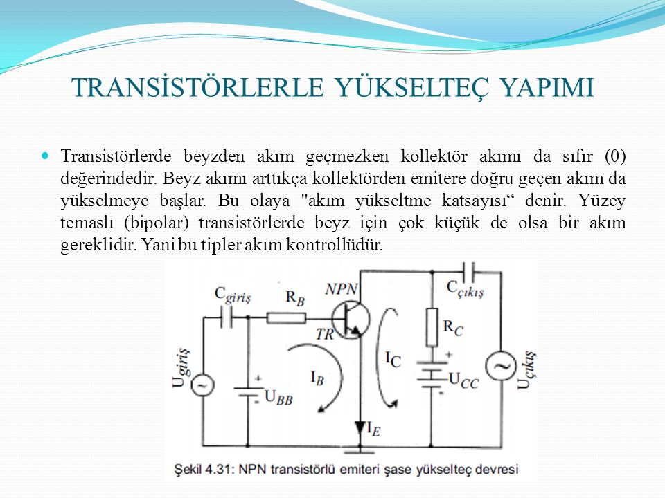 TRANSİSTÖRLERLE YÜKSELTEÇ YAPIMI Transistörlerde beyzden akım geçmezken kollektör akımı da sıfır (0) değerindedir. Beyz akımı arttıkça kollektörden em