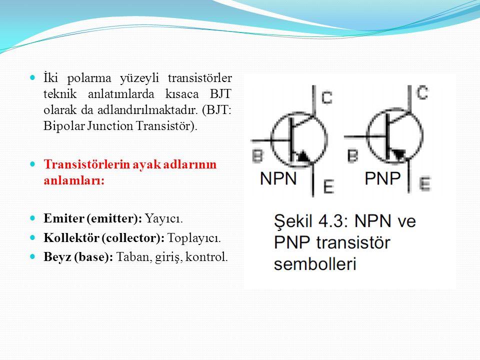 İki polarma yüzeyli transistörler teknik anlatımlarda kısaca BJT olarak da adlandırılmaktadır. (BJT: Bipolar Junction Transistör). Transistörlerin aya