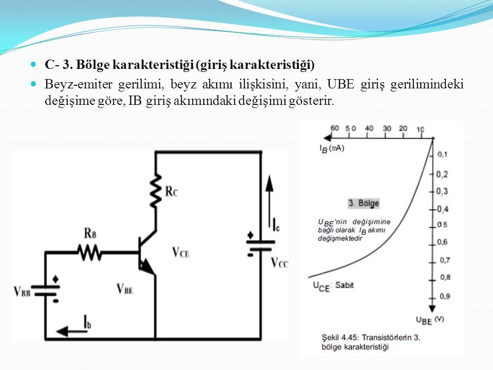 C- 3. Bölge karakteristiği (giriş karakteristiği) Beyz-emiter gerilimi, beyz akımı ilişkisini, yani, UBE giriş gerilimindeki değişime göre, IB giriş a