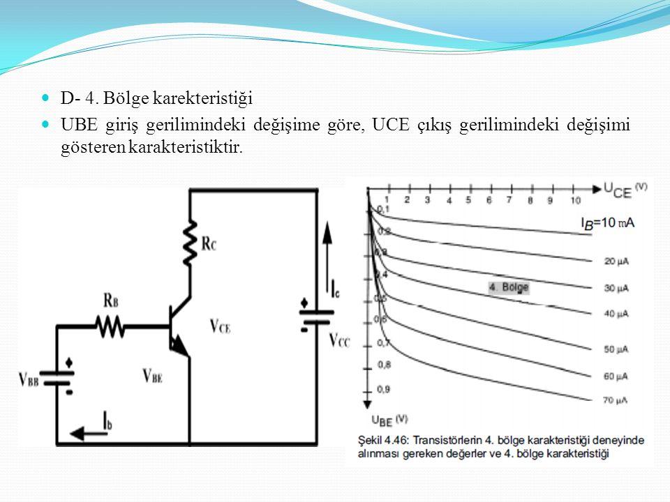 D- 4. Bölge karekteristiği UBE giriş gerilimindeki değişime göre, UCE çıkış gerilimindeki değişimi gösteren karakteristiktir.