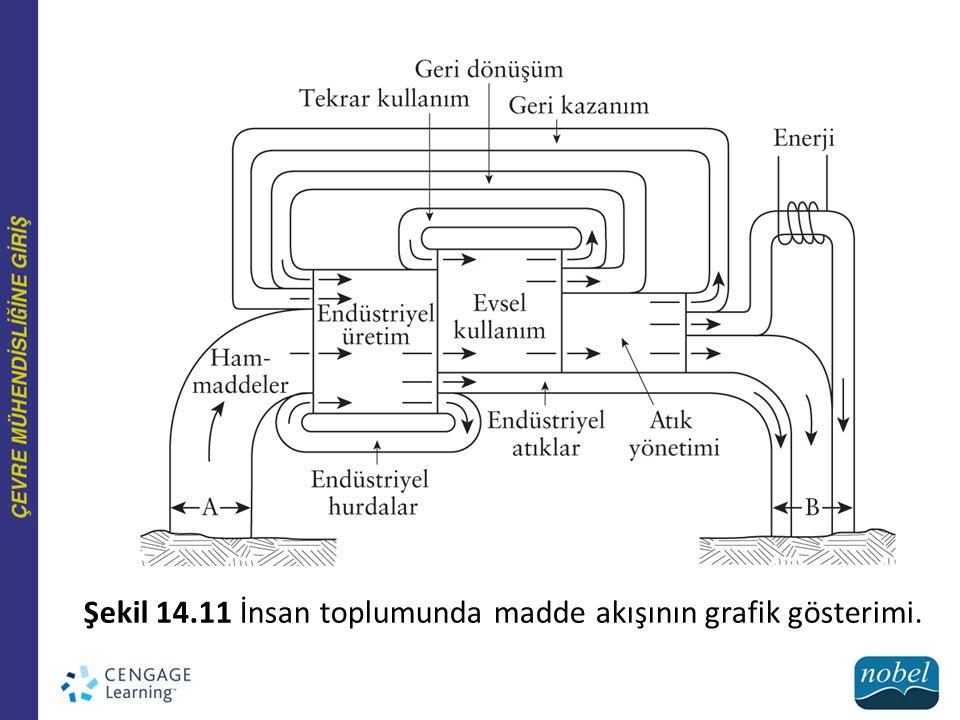 Şekil 14.11 İnsan toplumunda madde akışının grafik gösterimi.