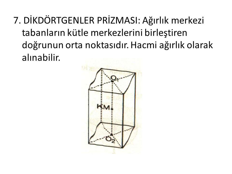7. DİKDÖRTGENLER PRİZMASI: Ağırlık merkezi tabanların kütle merkezlerini birleştiren doğrunun orta noktasıdır. Hacmi ağırlık olarak alınabilir.