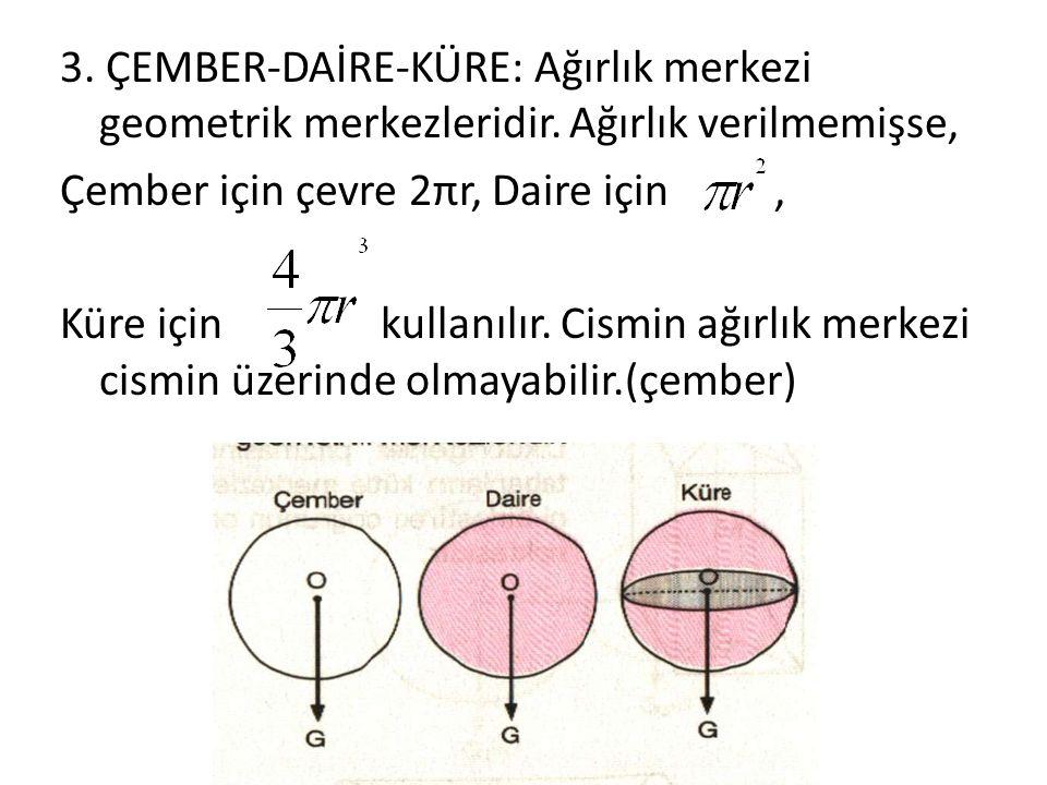 3. ÇEMBER-DAİRE-KÜRE: Ağırlık merkezi geometrik merkezleridir. Ağırlık verilmemişse, Çember için çevre 2πr, Daire için, Küre için kullanılır. Cismin a