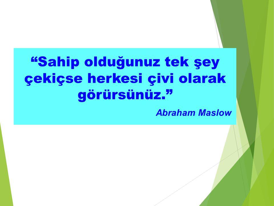 """""""Sahip olduğunuz tek şey çekiçse herkesi çivi olarak görürsünüz."""" Abraham Maslow"""