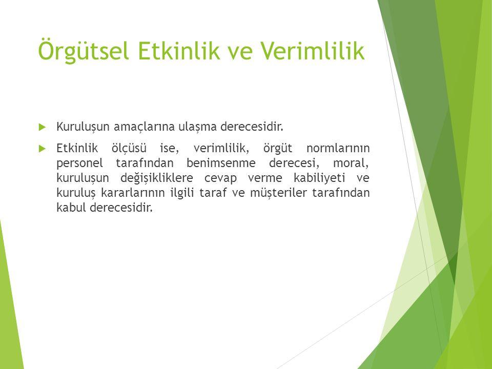 Örgütsel Etkinlik ve Verimlilik  Kuruluşun amaçlarına ulaşma derecesidir.  Etkinlik ölçüsü ise, verimlilik, örgüt normlarının personel tarafından be