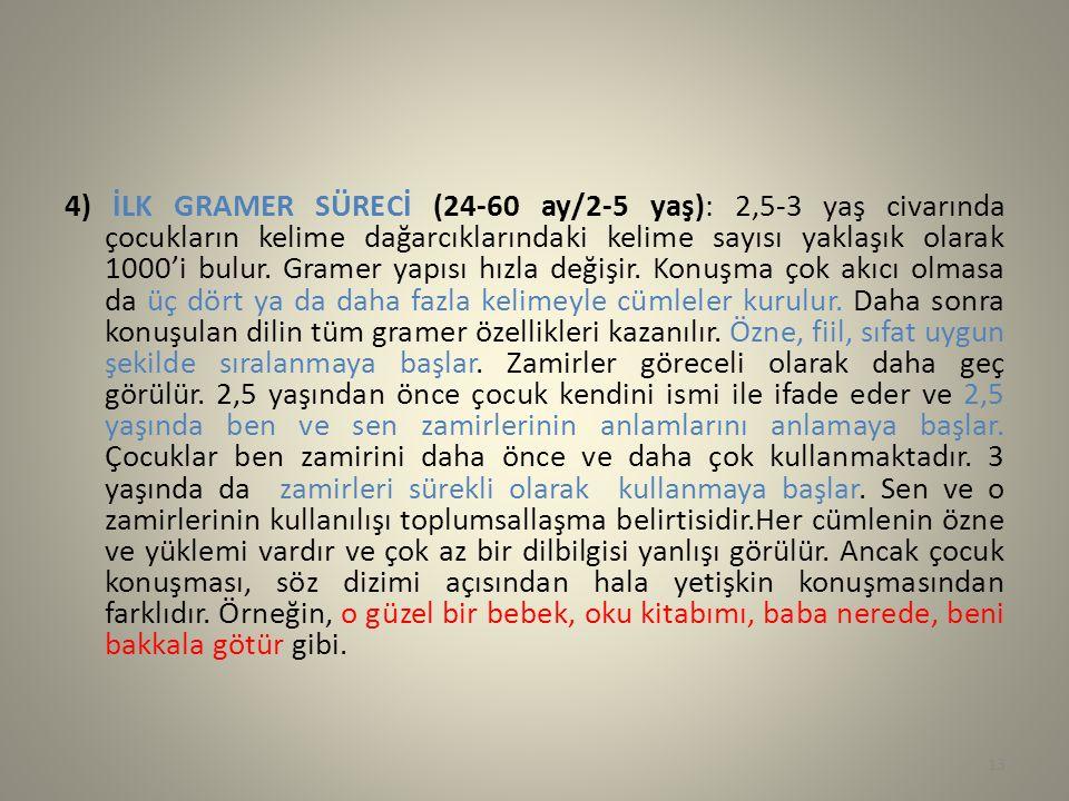 4) İLK GRAMER SÜRECİ (24-60 ay/2-5 yaş): 2,5-3 yaş civarında çocukların kelime dağarcıklarındaki kelime sayısı yaklaşık olarak 1000'i bulur. Gramer ya
