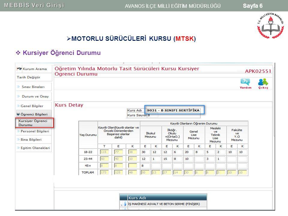 Sayfa 7 MTSK öğretmen sayıları girişi yapılırken Öğretmen ve Öğretici Durumu ekranı ile Öğretmen/öğretici (MTSKBranş) ekranı birbirlerine eşit olmalıdır.
