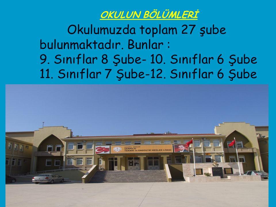 Okulumuzda toplam 27 şube bulunmaktadır. Bunlar : 9. Sınıflar 8 Şube- 10. Sınıflar 6 Şube 11. Sınıflar 7 Şube-12. Sınıflar 6 Şube OKULUN BÖLÜMLERİ