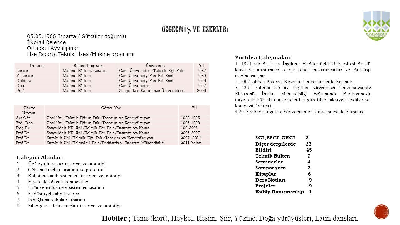 DereceBölüm/ProgramÜniversiteYıl Lisans Makine E ğ itimi/TasarımGazi Üniversitesi/Teknik E ğ t. Fak.1987 Y. Lisans Makine E ğ itimiGazi University/Fen