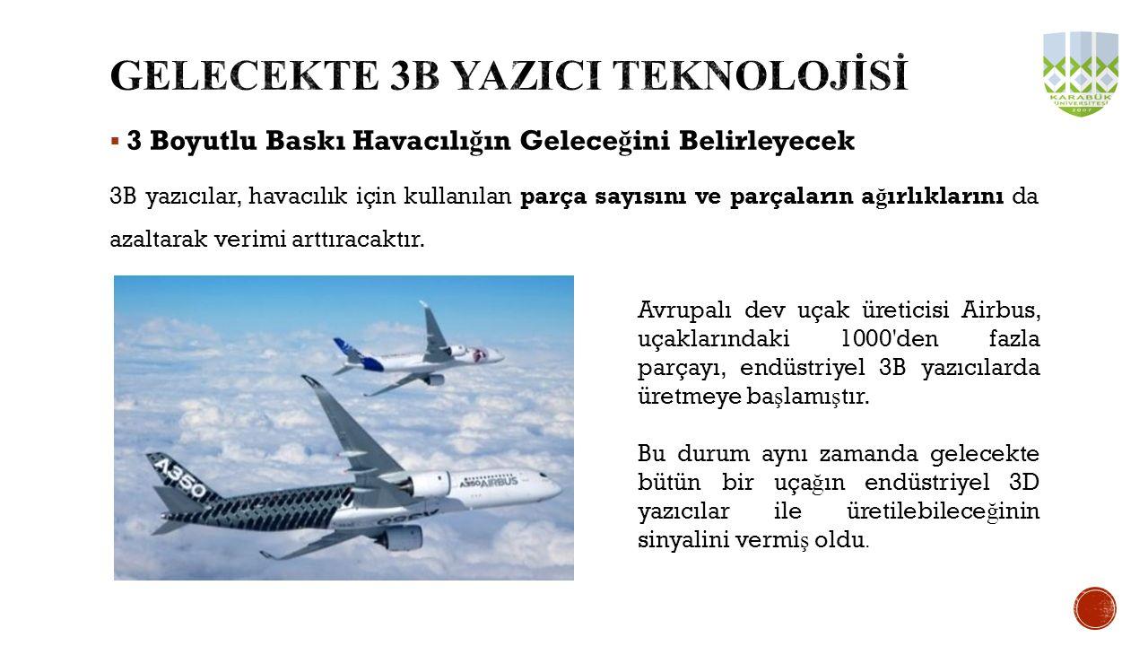  3 Boyutlu Baskı Havacılı ğ ın Gelece ğ ini Belirleyecek 3B yazıcılar, havacılık için kullanılan parça sayısını ve parçaların a ğ ırlıklarını da azal