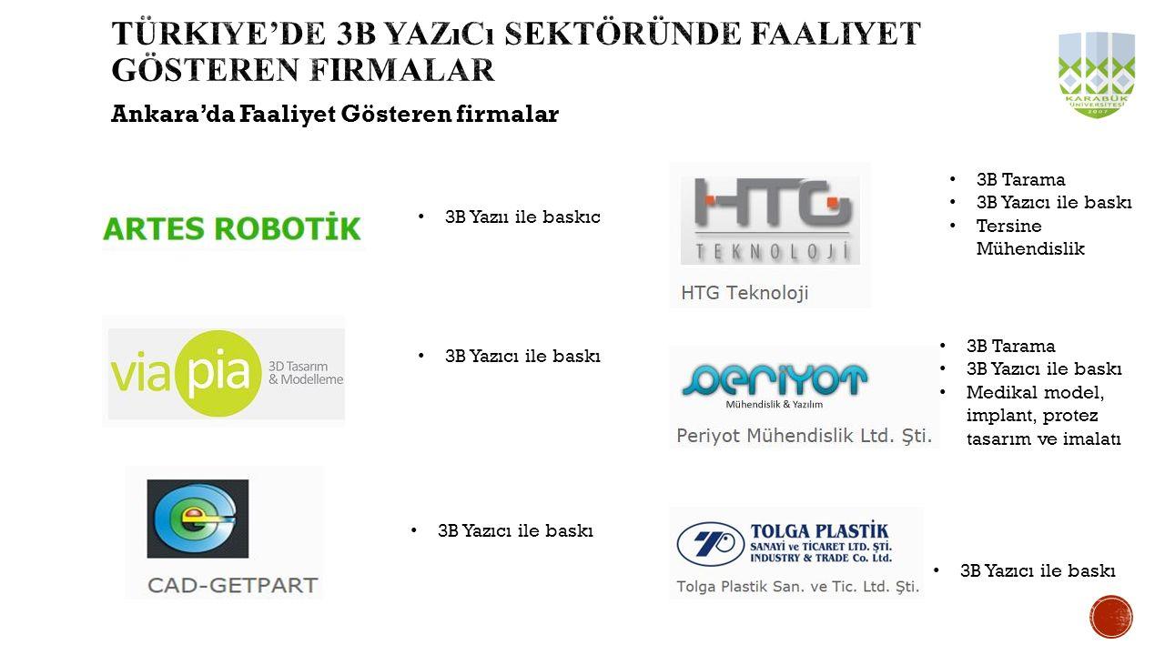 Ankara'da Faaliyet Gösteren firmalar 3B Yazıcı ile baskı 3B Tarama 3B Yazıcı ile baskı Medikal model, implant, protez tasarım ve imalatı 3B Tarama 3B