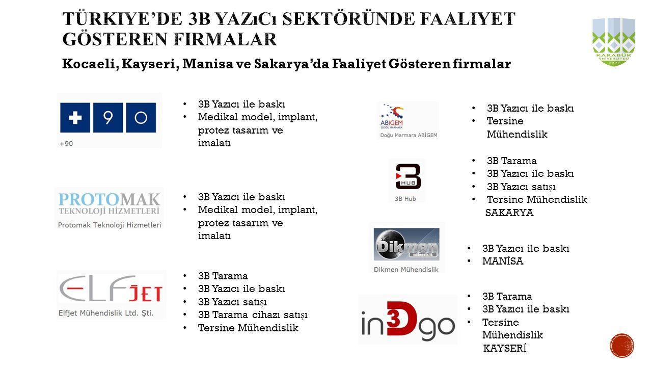 Kocaeli, Kayseri, Manisa ve Sakarya'da Faaliyet Gösteren firmalar 3B Yazıcı ile baskı MAN İ SA 3B Tarama 3B Yazıcı ile baskı Tersine Mühendislik KAYSE