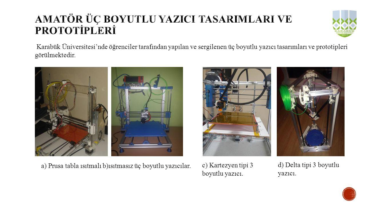 Karabük Üniversitesi'nde öğrenciler tarafından yapılan ve sergilenen üç boyutlu yazıcı tasarımları ve prototipleri görülmektedir. a) Prusa tabla ısıtm