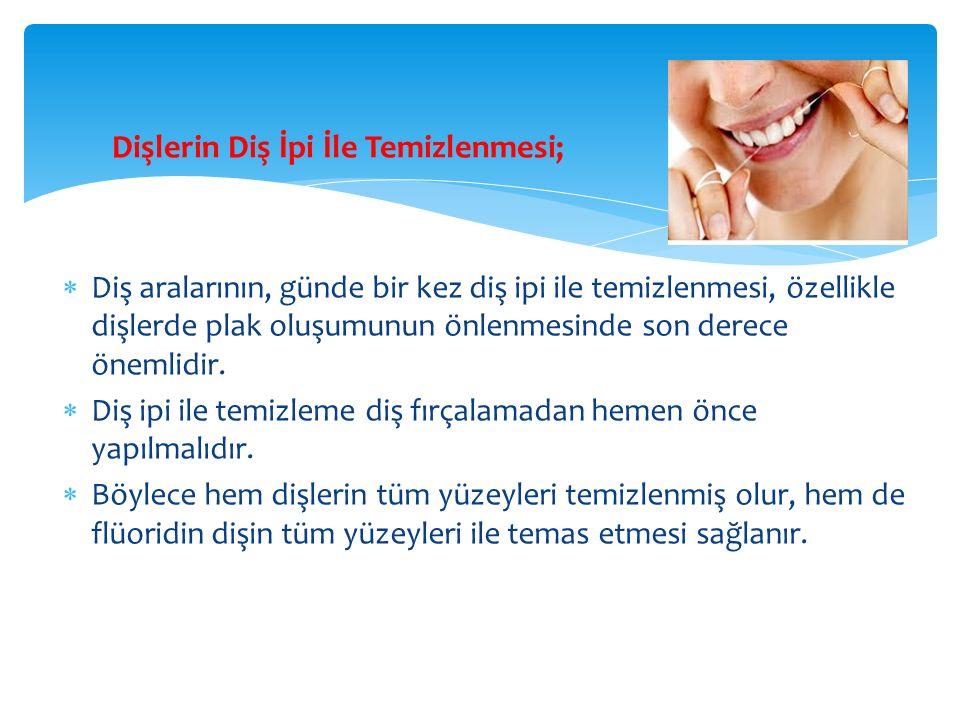 Dişlerin Diş İpi İle Temizlenmesi;  Diş aralarının, günde bir kez diş ipi ile temizlenmesi, özellikle dişlerde plak oluşumunun önlenmesinde son derece önemlidir.