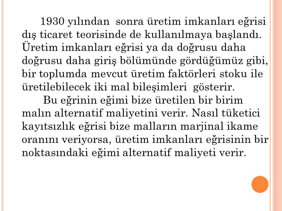 1930 yılından sonra üretim imkanları eğrisi dış ticaret teorisinde de kullanılmaya başlandı.