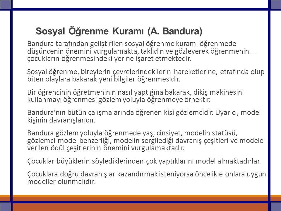 Sosyal Öğrenme Kuramı (A. Bandura) Bandura tarafından geliştirilen sosyal öğrenme kuramı öğrenmede düşüncenin önemini vurgulamakta, taklidin ve gözley