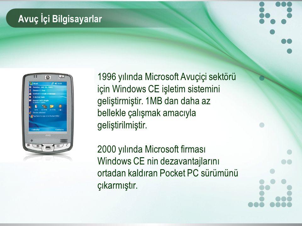 1996 yılında Microsoft Avuçiçi sektörü için Windows CE işletim sistemini geliştirmiştir.