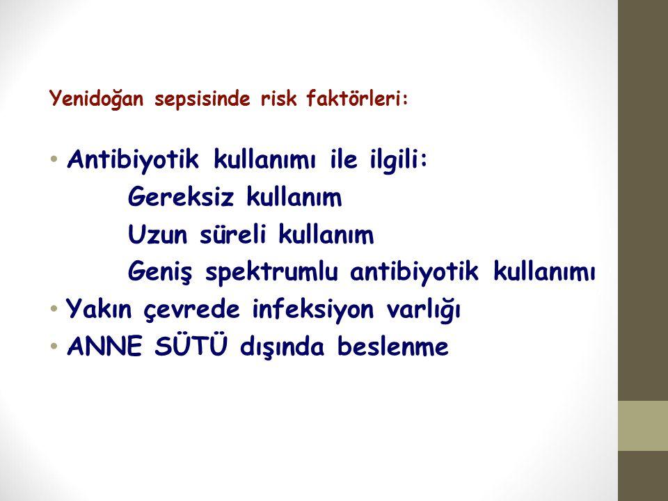 Yenidoğan sepsisinde risk faktörleri: Antibiyotik kullanımı ile ilgili: Gereksiz kullanım Uzun süreli kullanım Geniş spektrumlu antibiyotik kullanımı