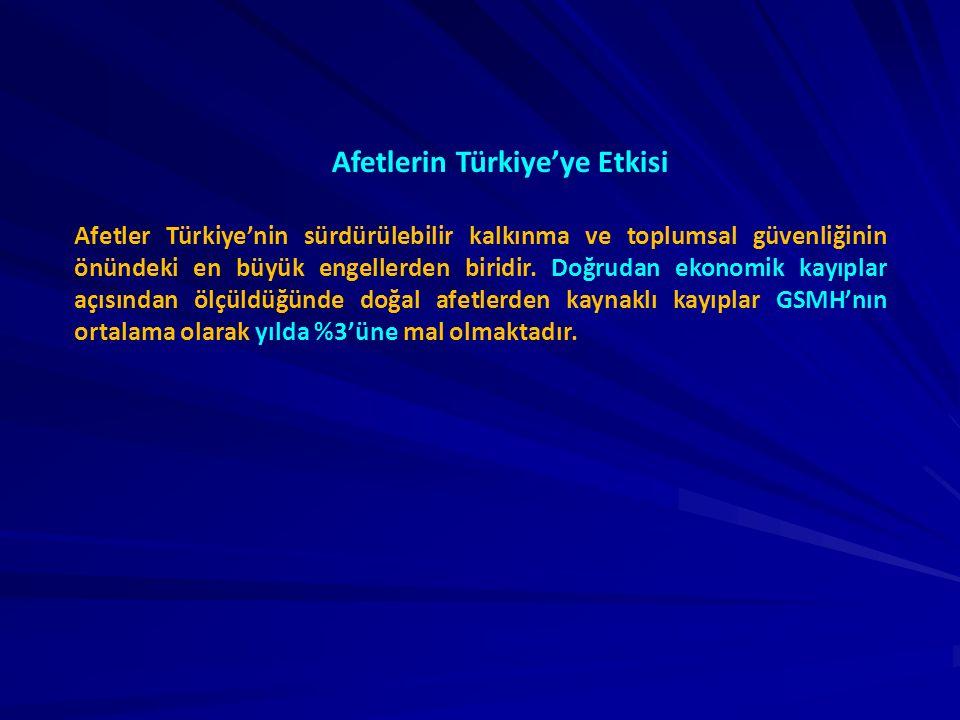 Afetlerin Türkiye'ye Etkisi Afetler Türkiye'nin sürdürülebilir kalkınma ve toplumsal güvenliğinin önündeki en büyük engellerden biridir. Doğrudan ekon