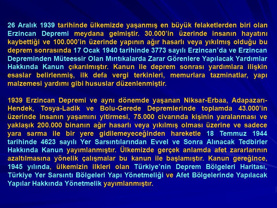 26 Aralık 1939 tarihinde ülkemizde yaşanmış en büyük felaketlerden biri olan Erzincan Depremi meydana gelmiştir. 30.000'in üzerinde insanın hayatını k