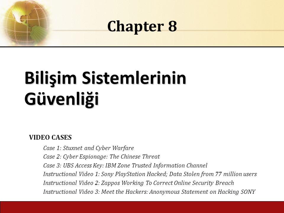 6.1 Copyright © 2014 Pearson Education, Inc. Bilişim Sistemlerinin Güvenliği Chapter 8 VIDEO CASES Case 1: Stuxnet and Cyber Warfare Case 2: Cyber Esp