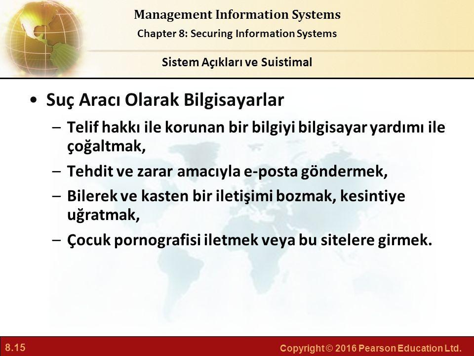 8.15 Copyright © 2016 Pearson Education Ltd. Management Information Systems Chapter 8: Securing Information Systems Suç Aracı Olarak Bilgisayarlar –Te