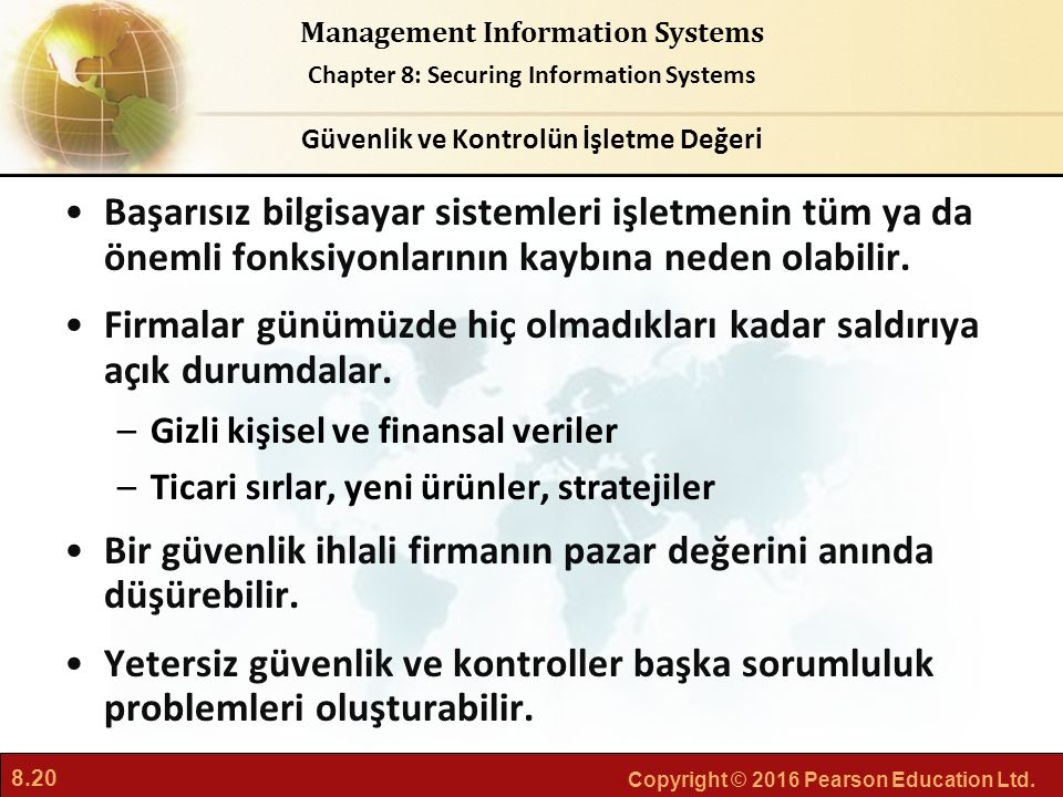 8.20 Copyright © 2016 Pearson Education Ltd. Management Information Systems Chapter 8: Securing Information Systems Başarısız bilgisayar sistemleri iş