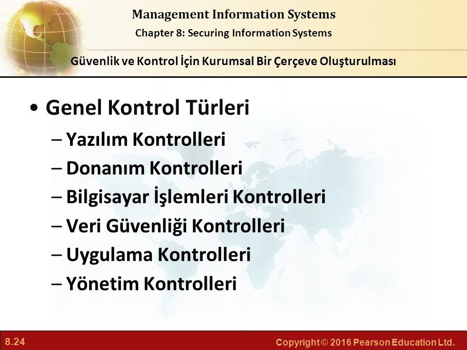 8.24 Copyright © 2016 Pearson Education Ltd. Management Information Systems Chapter 8: Securing Information Systems Genel Kontrol Türleri –Yazılım Kon