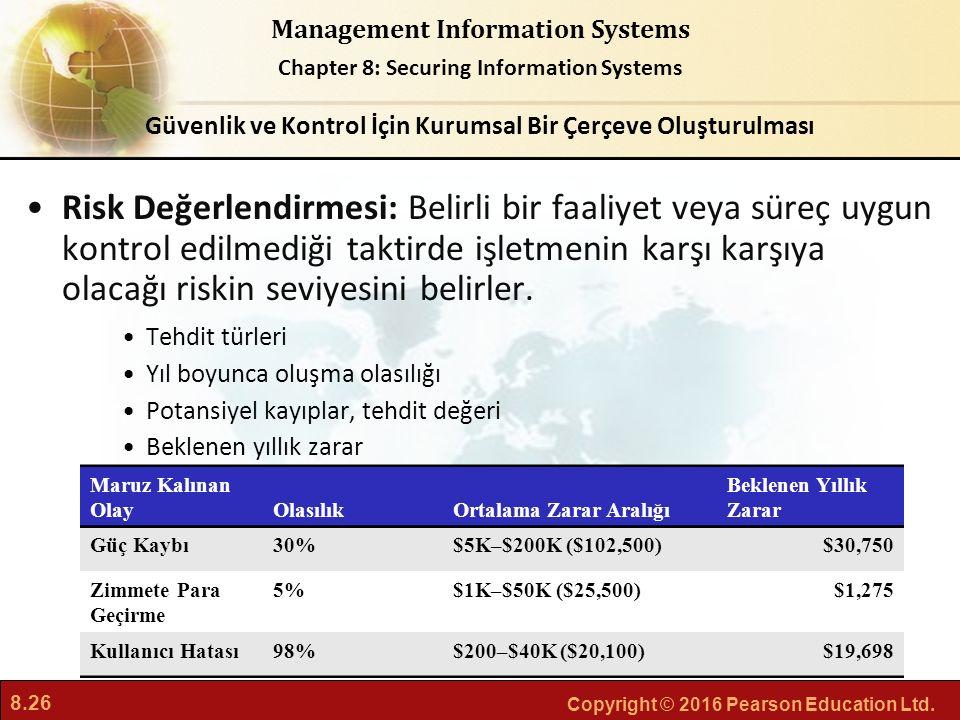 8.26 Copyright © 2016 Pearson Education Ltd. Management Information Systems Chapter 8: Securing Information Systems Risk Değerlendirmesi: Belirli bir