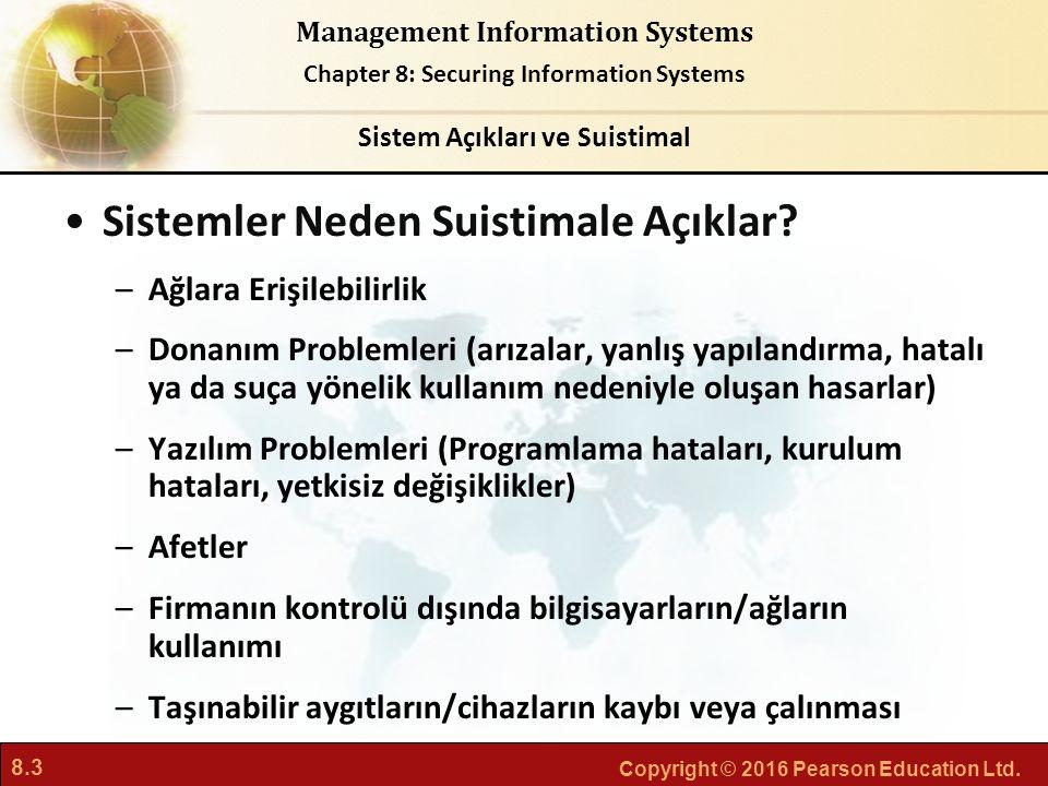 8.3 Copyright © 2016 Pearson Education Ltd. Management Information Systems Chapter 8: Securing Information Systems Sistemler Neden Suistimale Açıklar?